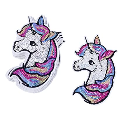 75213c78d592 Iron On Unicorn Head Sequin Appliques Cute Star Poker Embroidered Patches 1  Set