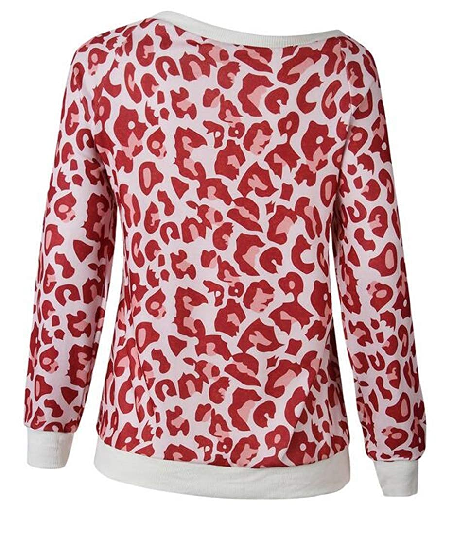 Joe Wenko Women Pullover Blouse Fall//Winter Top Leopard Round-Neck Sweatshirts