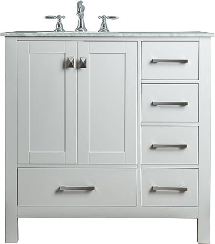 Stufurhome GM-6412-36PW-CR Malibu Pure Single Sink Bathroom Vanity, White, 36