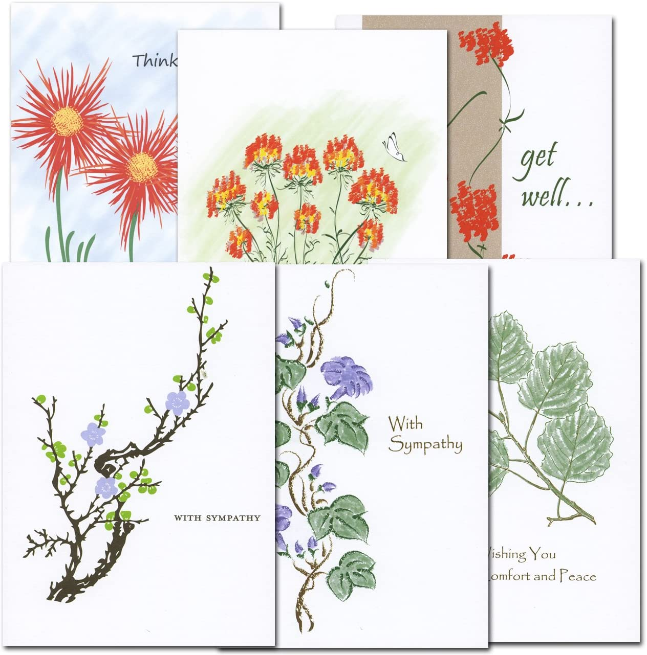 Get Well and Sympathy Card Assortment - box of 12 cards & envelopes, 2 each of 6 designs