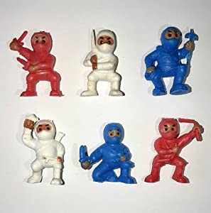 fb 18 Red White Blue Ninjas Mini Karate American Ninja Warriors Fighters Figures Cupcake Cake Toppers Ninja Kung Fu Guys Martial Arts Men Lot Party Favors