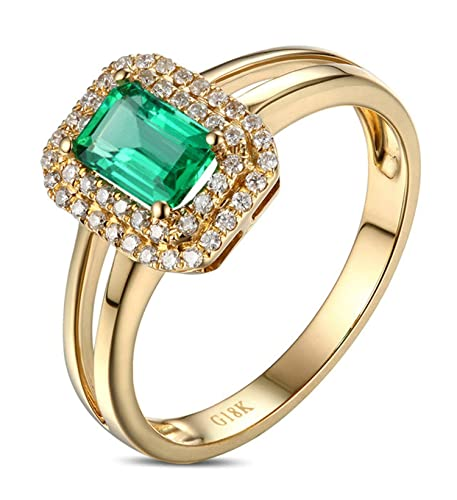 Epinki 18k Oro Anillos para Mujer Rectángulo Anillo Propuesta Matrimonio Anillo de Diamante Oro con Blanco