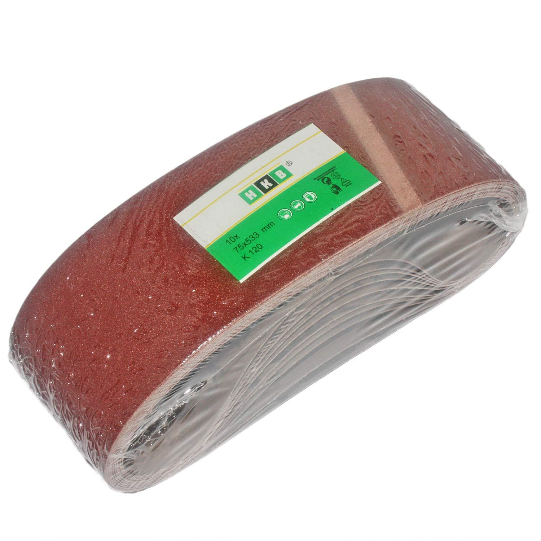 ToolTech - Bandas de lija para lijadoras de banda (10 unidades, 533 x 75 mm, grano 120) Veto/SBS/HKB
