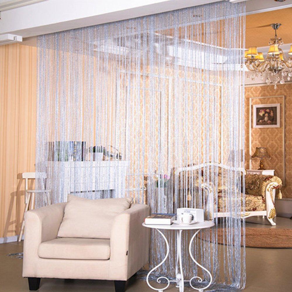 Door String Curtain Rare Flat Silver Ribbon Thread Fringe Window Panel Room Divider Cute Strip Tassel for Wedding Coffee House Restaurant Parts,Champagne 37 X 76 Inch Mesinsefra ZFNL-666-Champagne