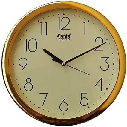 Ajanta Wall Clock For Home And Offices (26 cm x 26 cm , Step Movement, Ivory)