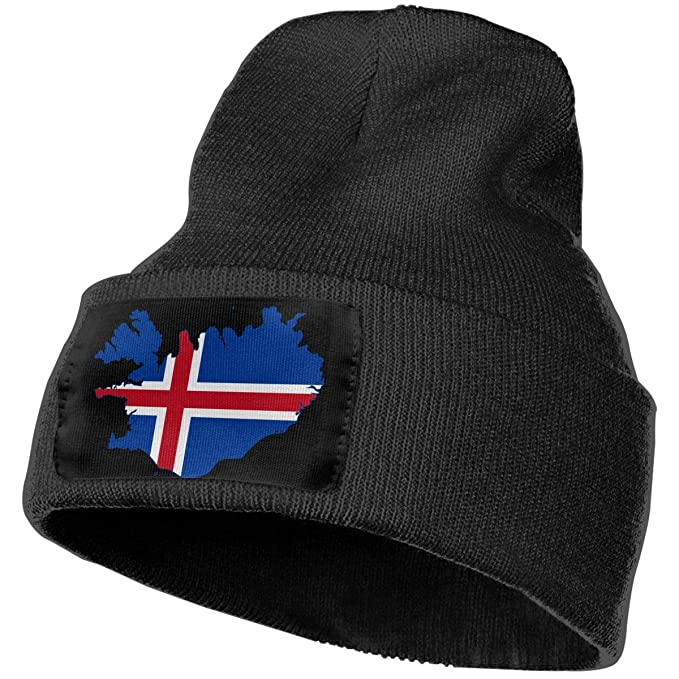 WHOO93@Y Unisex 100/% Acrylic Knitted Hat Cap Flag of Iceland Map Fashion Beanie Hat