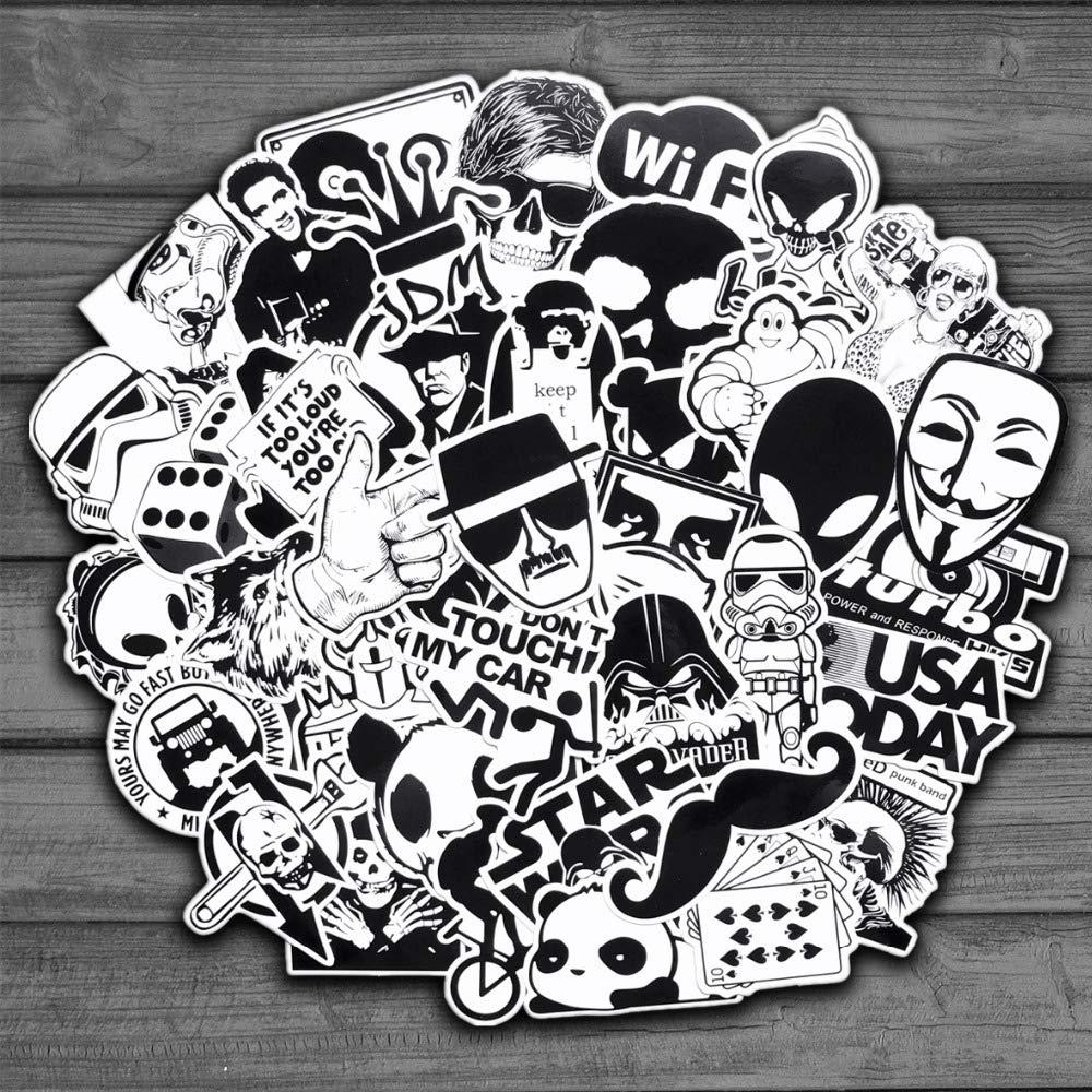 Amazon com 50pcs random black and white sticker graffiti punk jdm cool stickers for kids sticker on laptop skateboard suitcase bike helmet baby