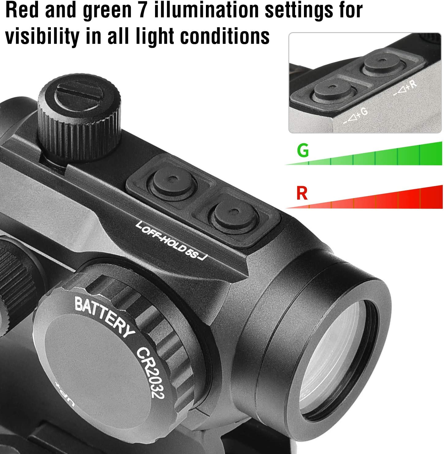 EZshoot 2MOA Red Green Dot Sight with Unique Energy Saving System 1x25mm Compact Red Dot Scope with Quick Detach Rail Mount