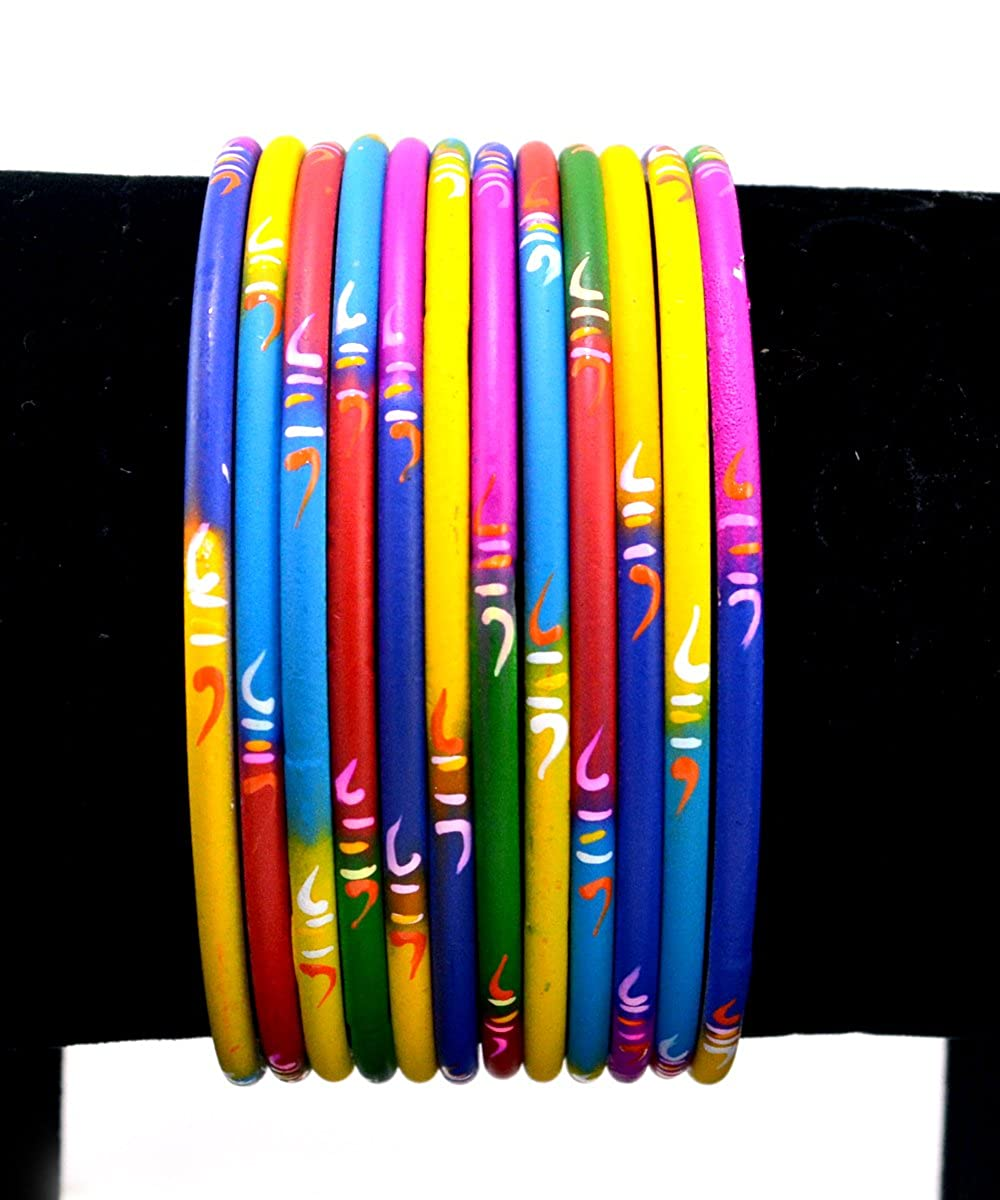 Party wear Set of 12 Indian Metal Bangles Handmade Bracelets Size 2.10 Large