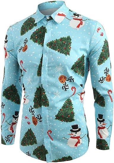 CLOOM Camiseta Navidad Hombre Casual Arbol De Navidad Impresión Slim Fit Blusa Caballero Moda Camisa para Navideño Nochebuena Carnaval Fiesta Venta: Amazon.es: Ropa y accesorios