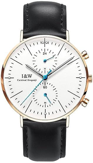 2017 nueva Carnaval marca relojes hombre Dual tiempo zona luminoso carcasa hombres de cuarzo multifunción reloj: Amazon.es: Relojes