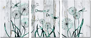 Welmeco 3 Pieces Teal Flowers Canvas Wall Art Abstract Dandelion with Dragonfly Picture Rustic Wood Texture Giclee Prints Stretched Ready to Hang for Modern Living Room Bedroom Kitchen Bathroom Housewarming Gift