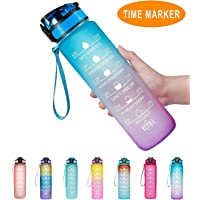 Adventure Time 32oz/ 1L Large Motivational Fitness Sport Water Bottle with Time Marker & Removable Strainer, Large Wide…