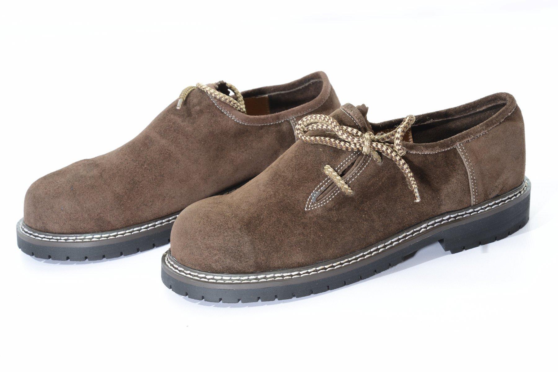 Okotberfest Lederhosen Haferl Shoes by lederhosen4u in dark brown suede leather, 12