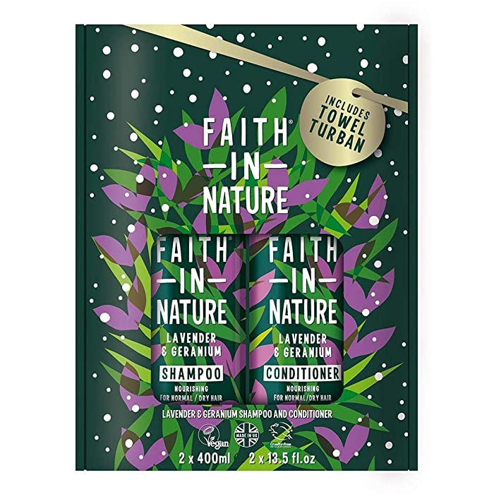 Faith In Nature Lavender & Geranium Shampoo and Conditioner Set 2 x 400ml. Moisturises, Hydrates and Conditions Hair, Includes Hair Towel. | Hair Shampoo & Hair Conditioner Towel Set