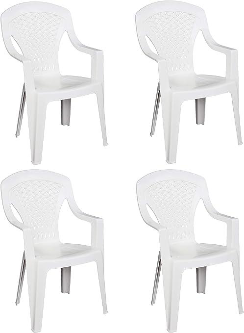 4 x sillas Capri de resina dura de plástico. Color blanco. Apilables. Con reposabrazos. Respaldo alto. Para bares, campin, fiestas y restaurantes: Amazon.es: Jardín