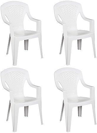 4 x sillas Capri de resina dura de plástico. Color blanco ...