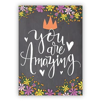 1 Tarjeta de felicitación motivacional con corazones y flores para ...