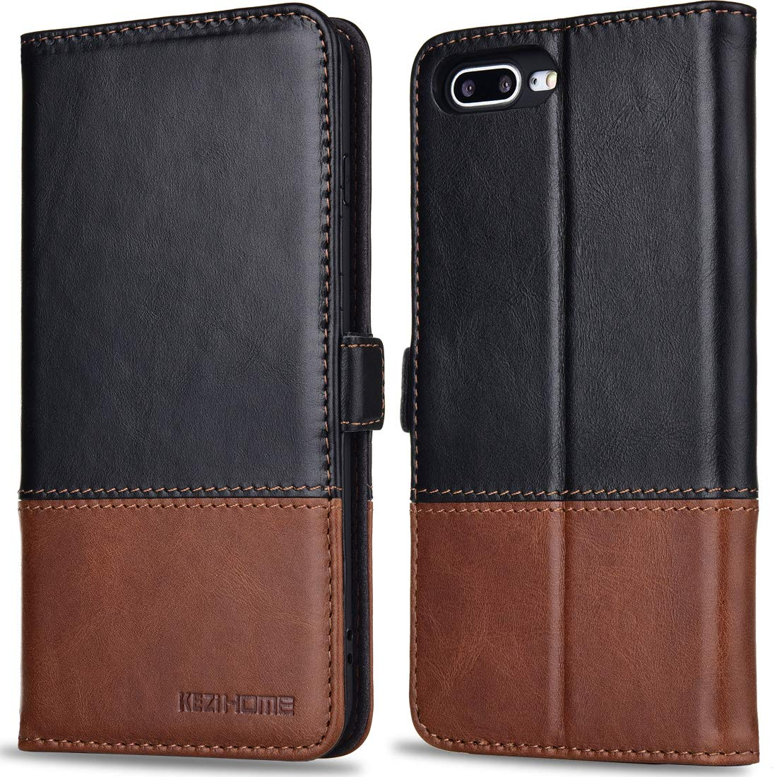 KEZiHOME iPhone 8 Plus Wallet Case iPhone 7 Plus Case, Genuine Leather Color Matching Wallet with Kickstand and Card Slot Magnetic Clasp Flip Cover for iPhone 8 Plus (Black/Brown)