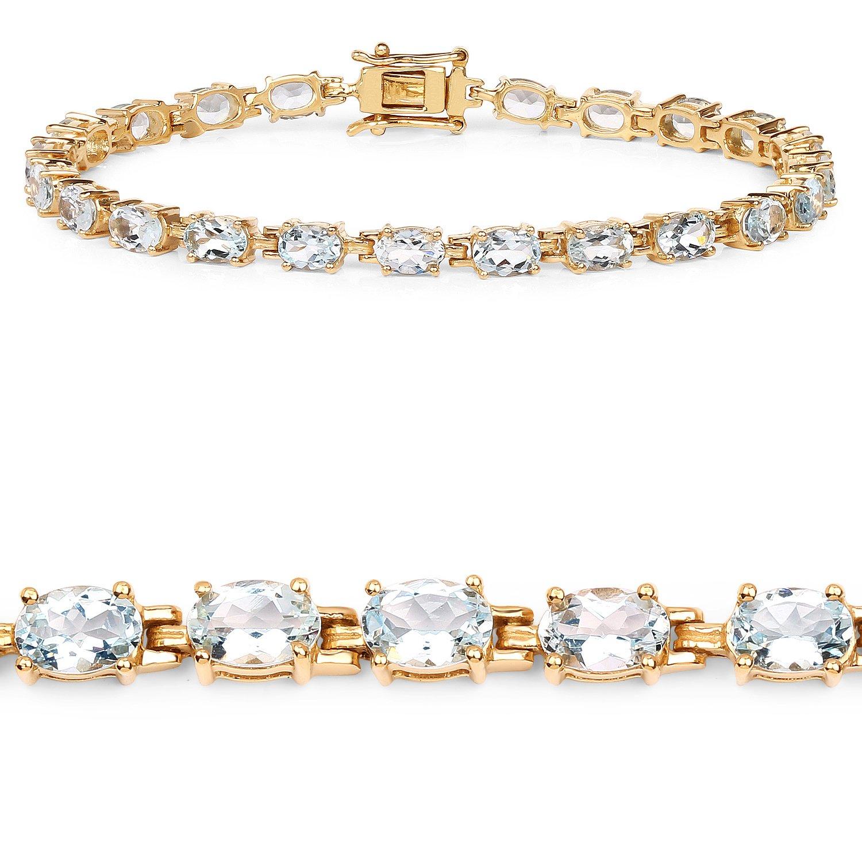 926 Sterling Silver Tennis Bracelet 8.8 ct White Aquamarine Gemstone 7.50 inches