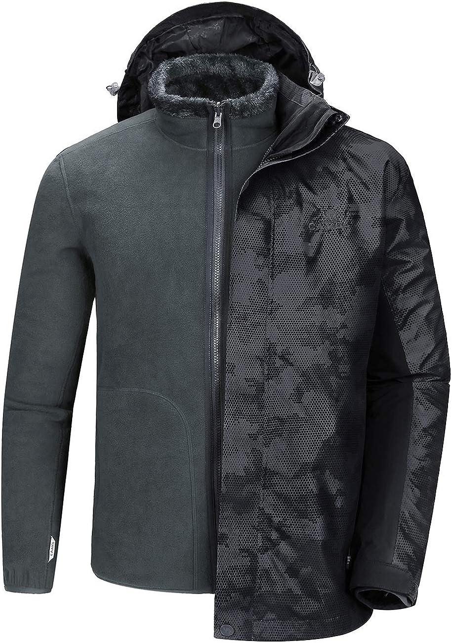 CAMEL CROWN Waterproof Ski Jacket for Men 3 in 1 Winter Jacket Windbreaker Snow Coat Parka for Hiking Snowboard