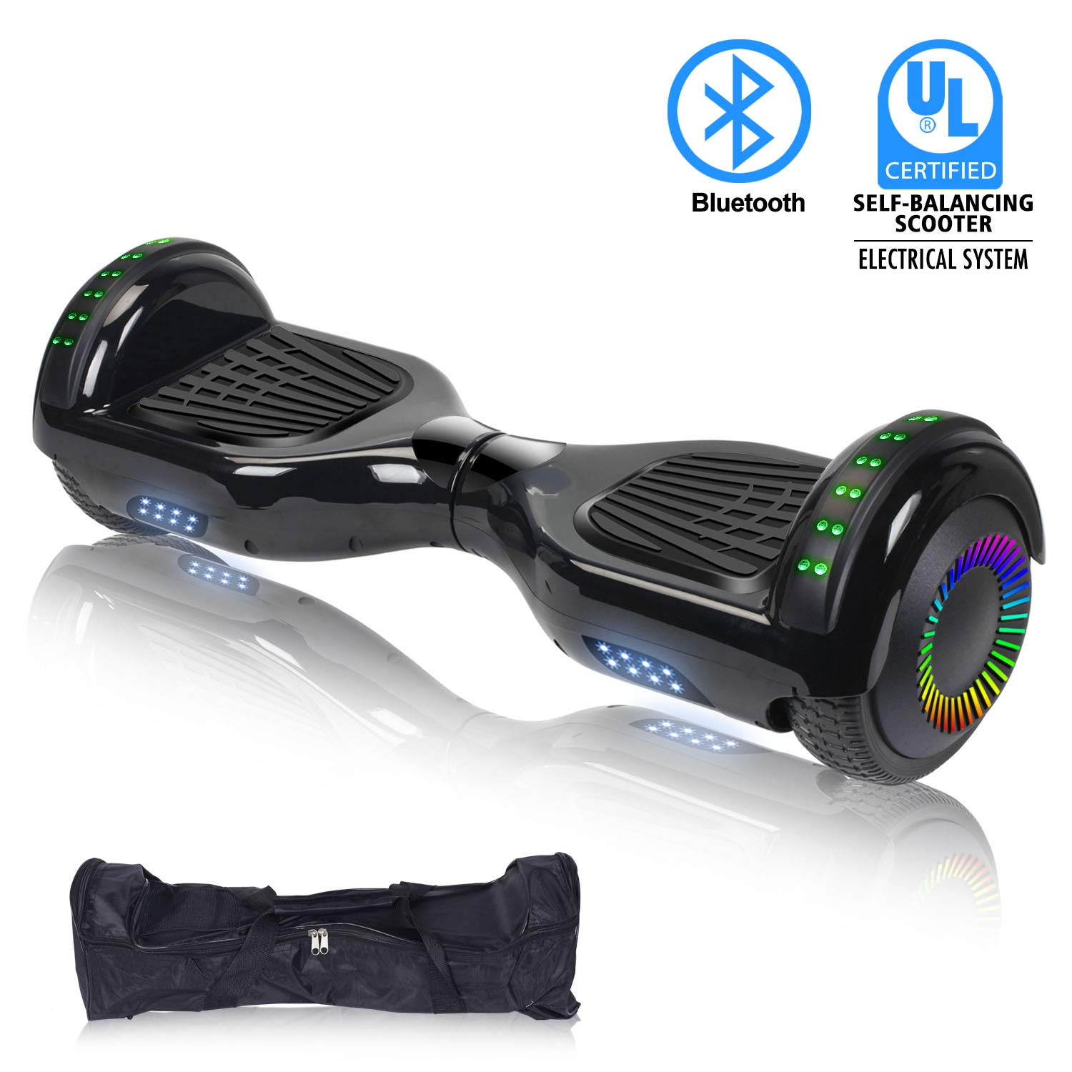 """SWEETBUY Hoverboard UL 2272 Certified 6.5"""" Two-Wheel Bluetooth Self Balancing Electric Scooter with LED Light Flash Lights Wheels Black (Free Carry Bag) by SWEETBUY (Image #1)"""