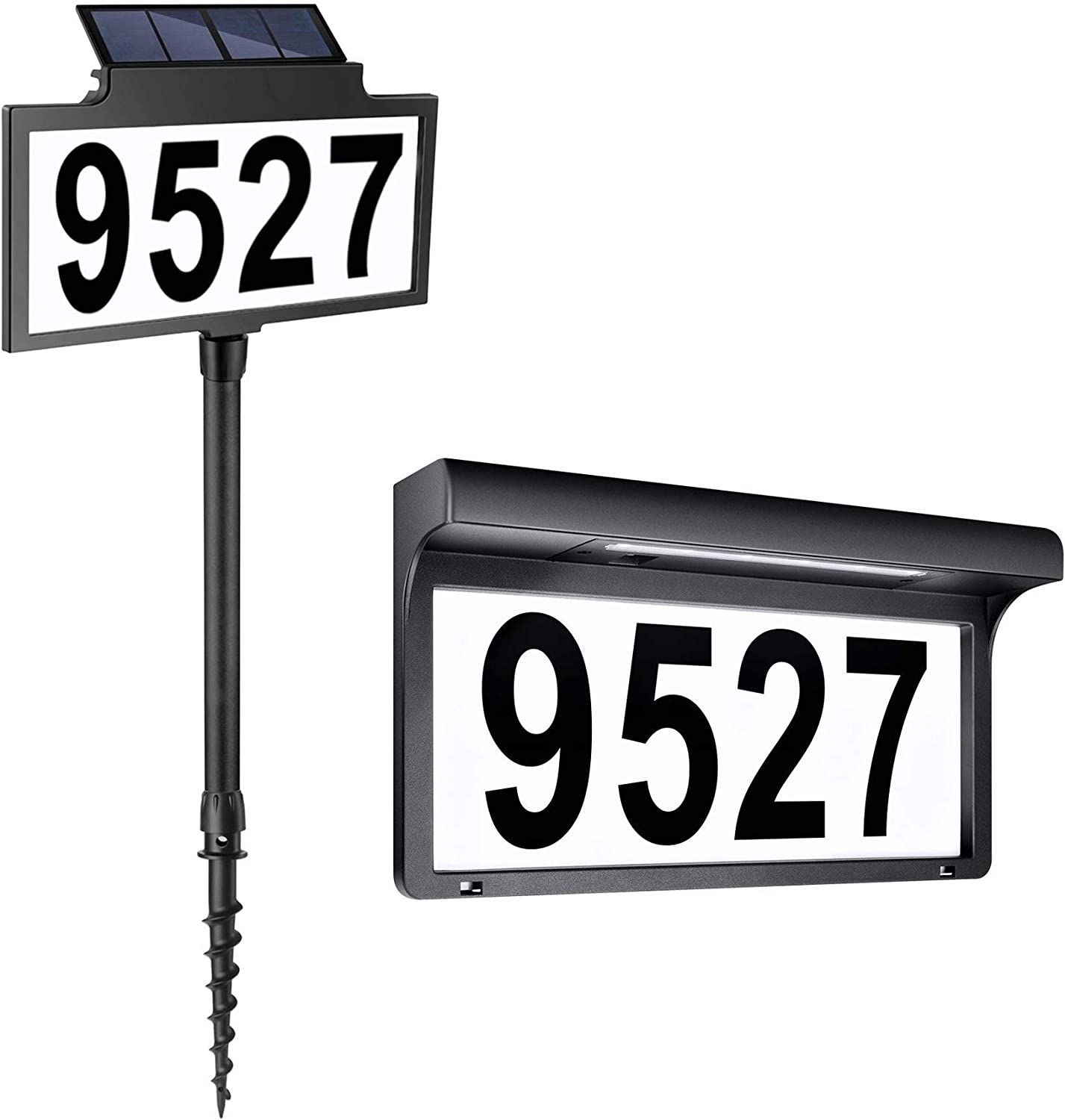 LeiDrail Solar Powered House Numbers & Address Sign LED Outdoor Plaque Lighted Up for Home Yard Street