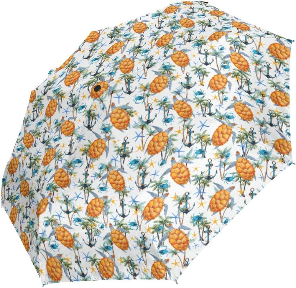 Tropical Turtle And Anchor Plam Tree fashion print cute Windproof automatic tri-fold umbrella sun UV protection Sun umbrella