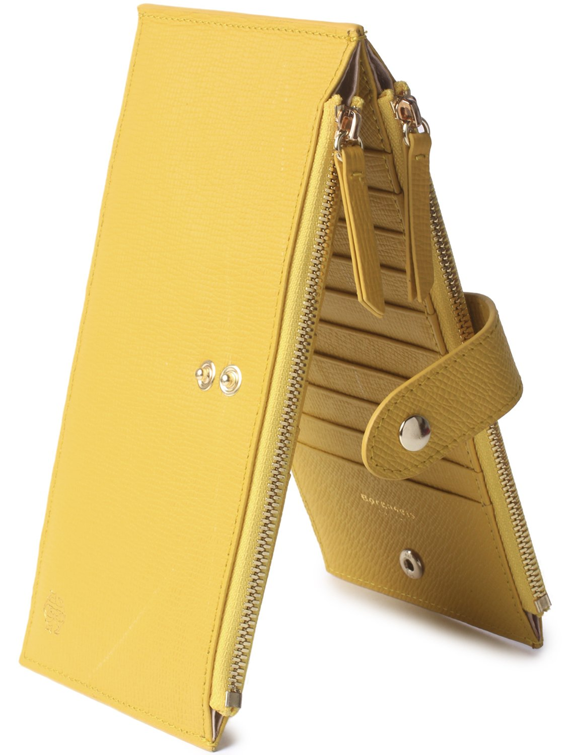 Borgasets Womens Walllet RFID Blocking Bifold Multi Card Case Wallet with Zipper Pocket Yellow