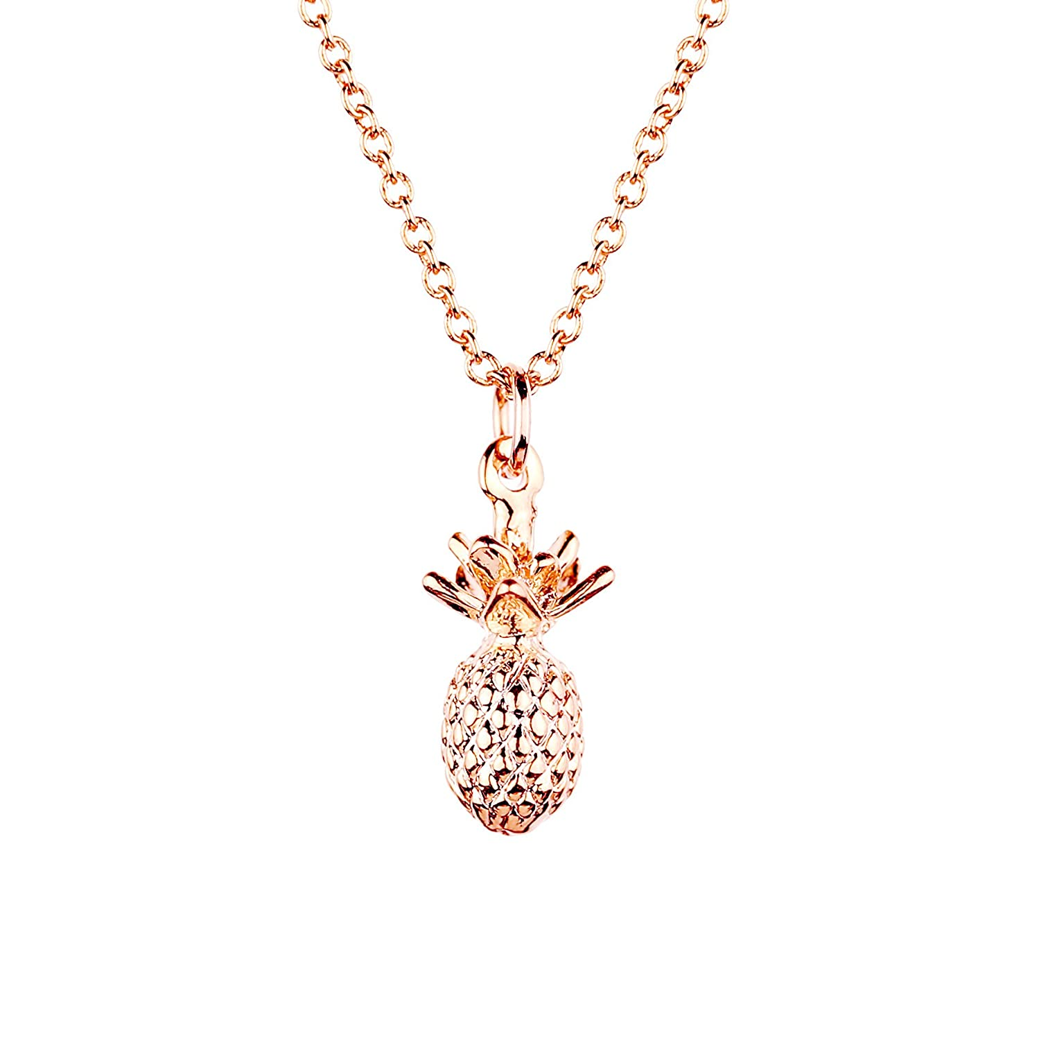 MignonandMignon Pineapple Necklace in Gold Silver Rose Gold 3D Pendant Necklace Mothers Day Jewelry Gift