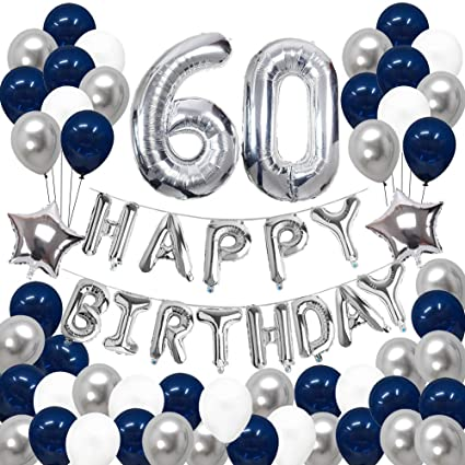 Amazon 60th Birthday Decorations Puchod Happy Banner Kit Number 60 Foil Ballon Party Set Blue Sliver For Men Toys Games
