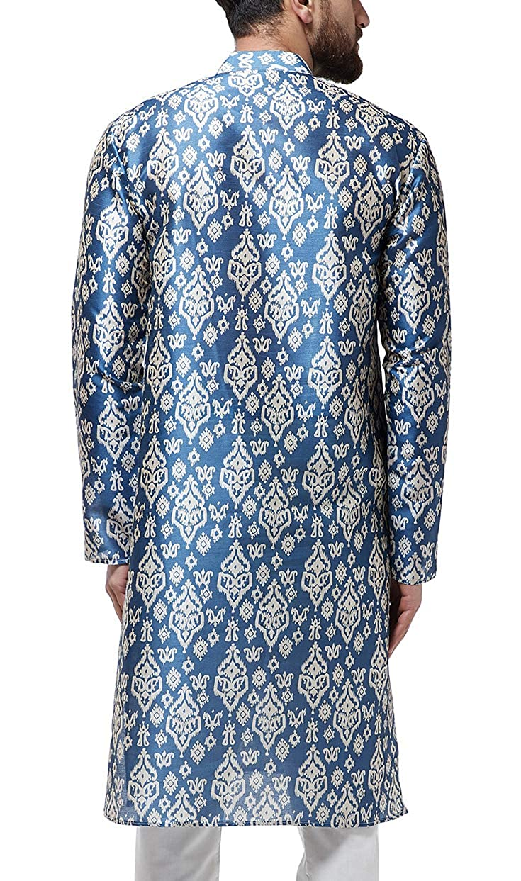 Festival-Men-Dupion-Silk-Kurta-Pajama-Ethnic-Party-Wear-Bollywood-Dress-Pyjama thumbnail 8