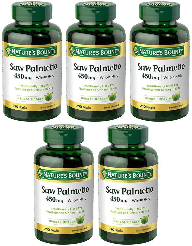 Natural Saw Palmetto 450 mg, 5 Bottles (250 Count)