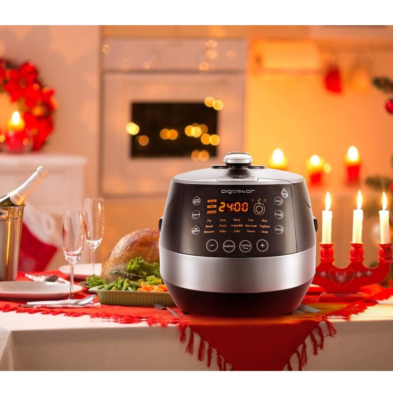 Aigostar Happy Chef 30IWY – Robot de cocina multifunción, cocina a presión: 7 aparatos en uno, 15 funciones, panel led, 900W, 5L, temporizador. ...