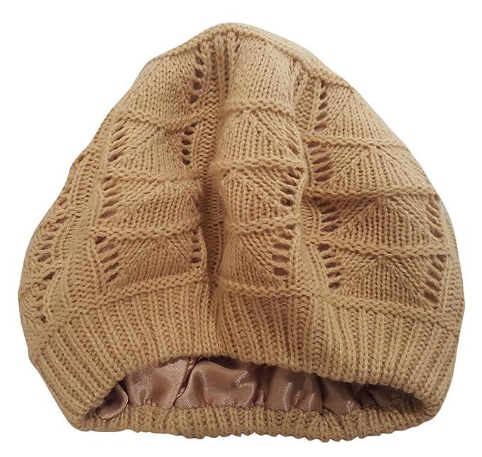Always Eleven Satin Lined Knit Beret Hat (Beige)