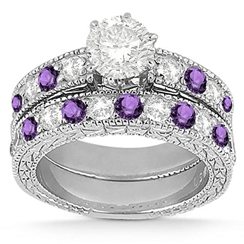 Amazon Com Antique Diamond And Amethyst Engagement Ring And Wedding