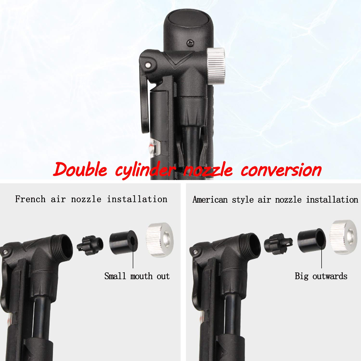 Black Fujunkang Bike Air Double Cylinder Pumps Mini Portable for Mountain//Road Bikes with psi Gauge