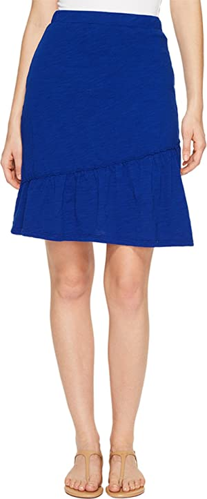 Mod-o-doc Womens Slub Jersey Short Skirt with Asymmetrical Ruffle