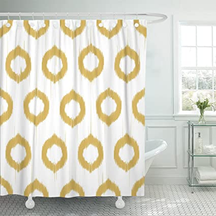 Amazon Emvency Shower Curtain Yellow Mustard Patter Design With