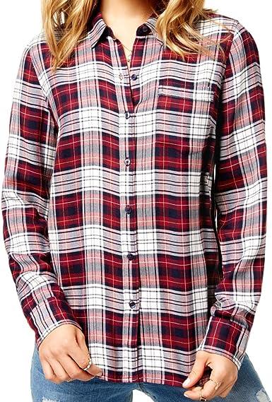 Lucky Brand - Camisa de cuadros con botones para mujer - Rojo ...