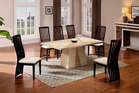 Quartz Dining Table In Cream Marble With 6 Chairs Amazoncouk