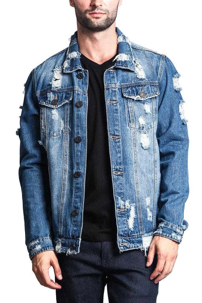 Victorious G-Style USA Distressed Denim Jacket DK100 - Indigo - Medium - EE1F by Victorious