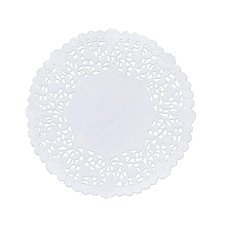 con estampado de rosas y hojas 4 pulgadas blanco Paquete de 100 blondas de encaje de papel redondo color blanco