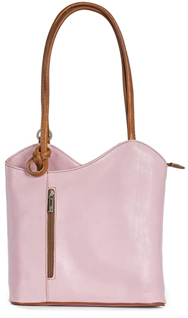 Amazon.com  LIATALIA Womens SOFT Italian Leather Structured Shoulder  Backpack Rucksack Duffle Bag - LIBBY  Baby Pink Tan   Shoes 4cbfe1548c027