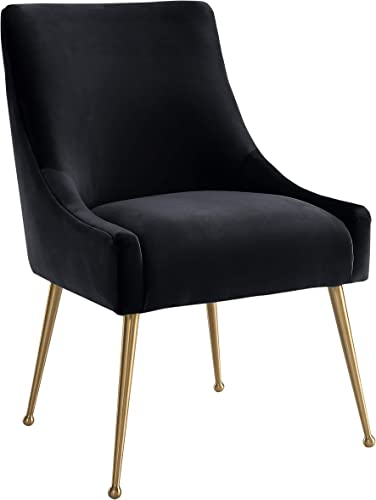 TOV Furniture Beatrix Ultra Modern Velvet Upholstered Dining Side Chair, 22 Black