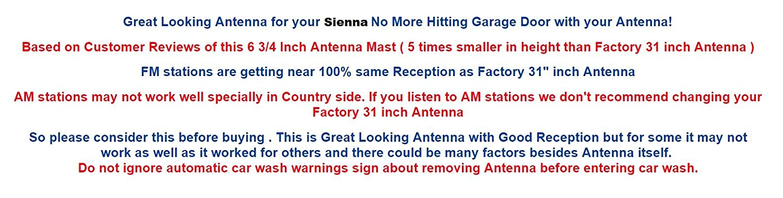6 3//4 Antenna MAST Toyota Sienna 2004 05 06 07 08 09 2010 Trunknets Inc 4350468557 FITS