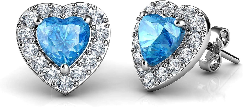 DEPHINI - Pendientes de corazón de plata de ley 925 con colgante de cristal de circonia cúbica y piedra natal para mujer - Pendientes de tuerca de joyería fina - Plata chapada en rodio - Circonita