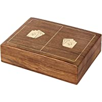 Aheli Wooden Handmade Double Playing Cards Holder for 2 Decks Storage Box Case Indoor Outdoor Game Unique Decorative…
