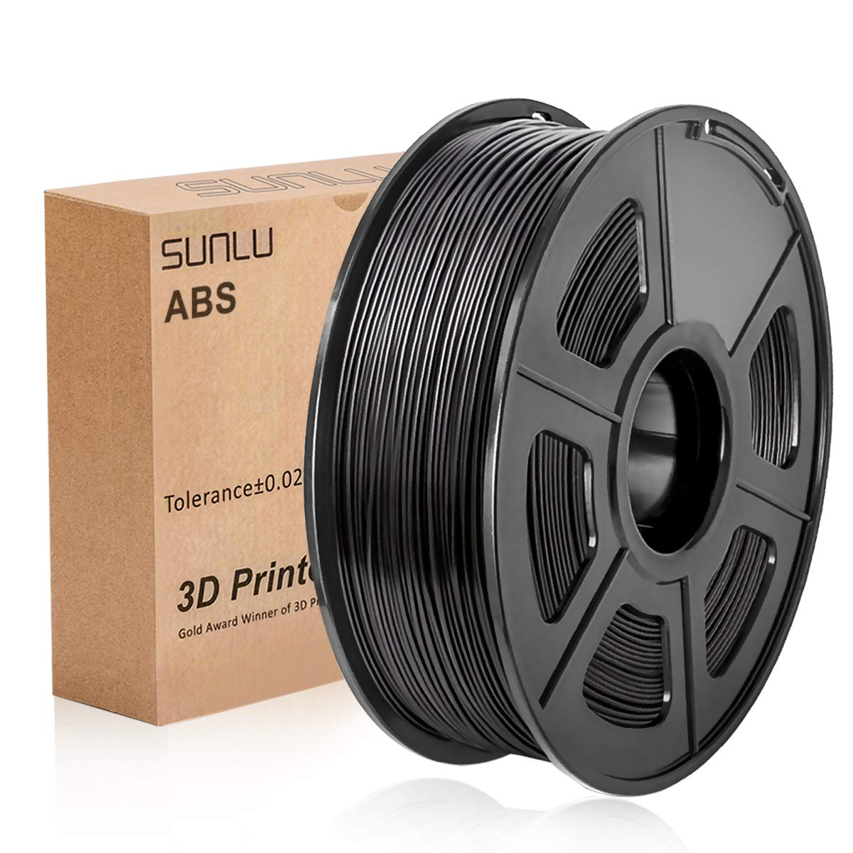 ABS Filament 1.75mm, SUNLU ABS Filament for 3D Printer, Dimensional Accuracy +/- 0.02 mm, ABS Black 1KG