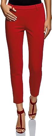 oodji Ultra Femme Pantalon Fusel/é avec Fermeture /Éclair sur Le C/ôt/é